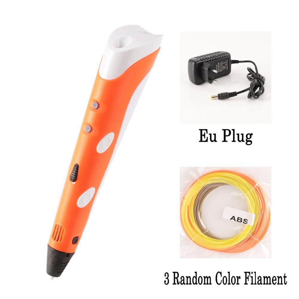 Myriwell Kreative 3D Print Pen 1,75mm ABS Filament DIY Druck Maker Für Kinder Design Zeichnung Orange Blau Farbe Neutral verpackung