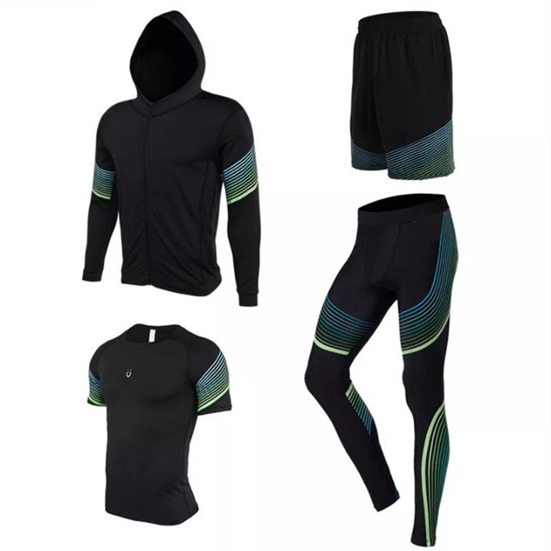 4 pieces Running Sets Men's Sportswear Compression Tights For Fitness Running Basketball Soccer Jersey jogging Gym Clothing