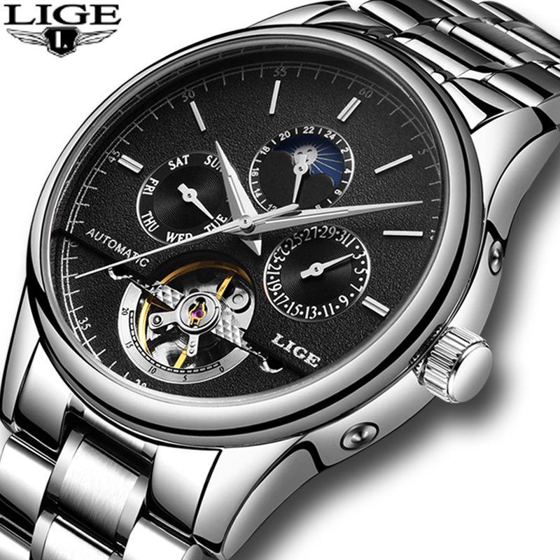 Relogio Masculino LIGE Neue Herrenuhren Mode für männer Business Watch Tourbillon Automatische Mechanische Uhr Edelstahl Uhr