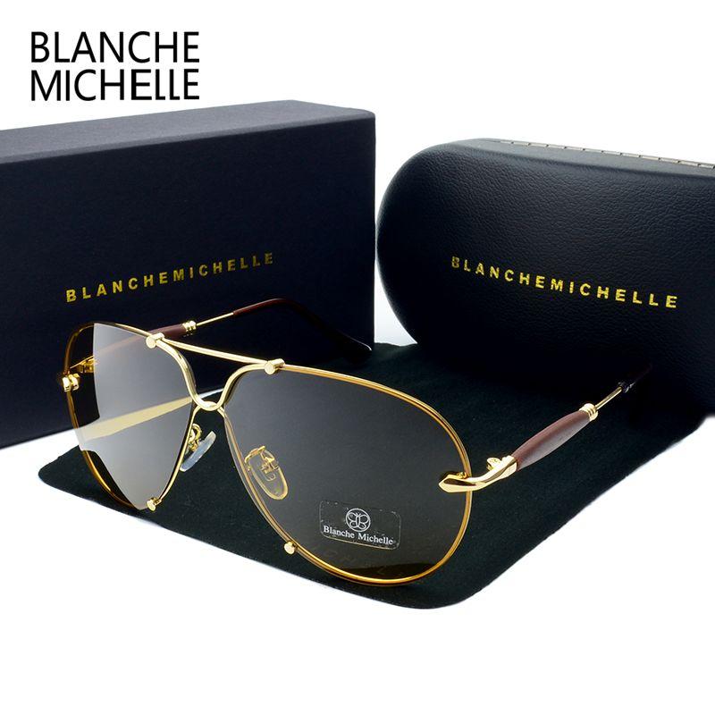 BM 2018 Haute Qualité lunettes de Soleil Sans Monture Hommes Polarisées Femmes UV400 Lunettes De Soleil de Conduite Lunettes de Soleil Marque Designer oculos Avec la Boîte