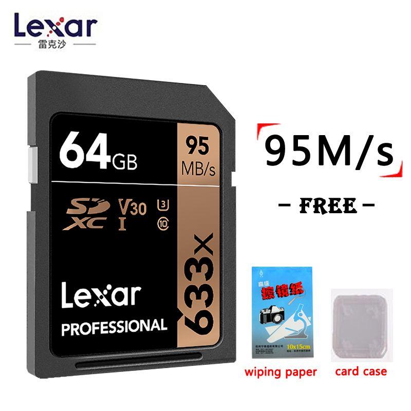 Lexar Véritable 95 Mo/S 633x16G 64 GB SD Carte 32 GB 128 GB flash carte SDHC/ SDXC U3 Classe 10 carte mémoire sd Pour DSLR HD vidéo carte