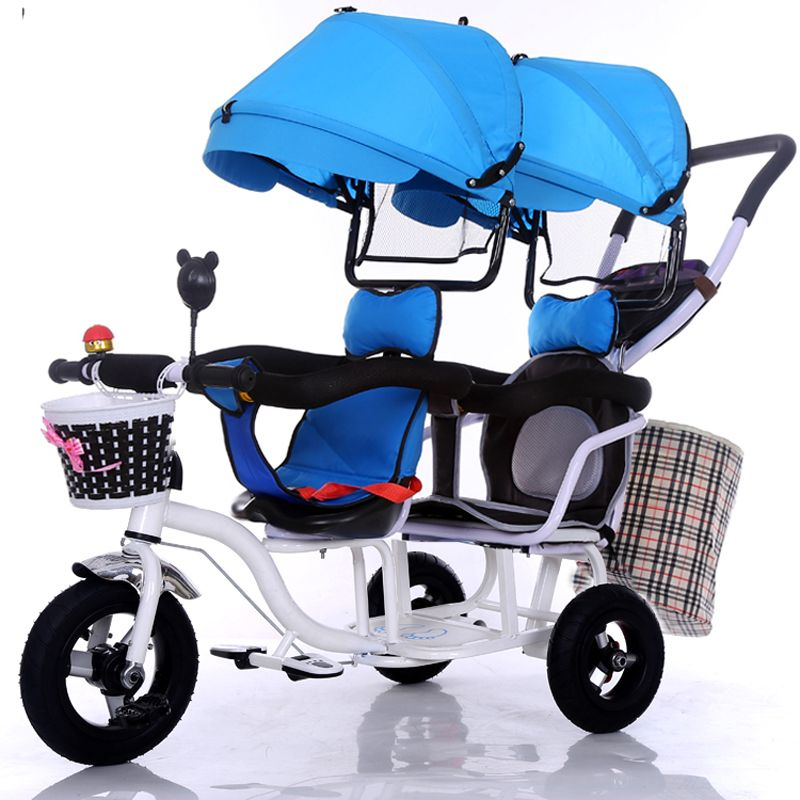12 inch 2 kids tricycle twins baby bicycle double seat tricycle tandem trike with fold pedal and remove arm rest
