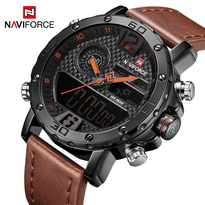 Montres hommes De Luxe Marque Hommes En Cuir Sport Montres NAVIFORCE homme Quartz Horloge Numérique Étanche Montre-Bracelet Militaire