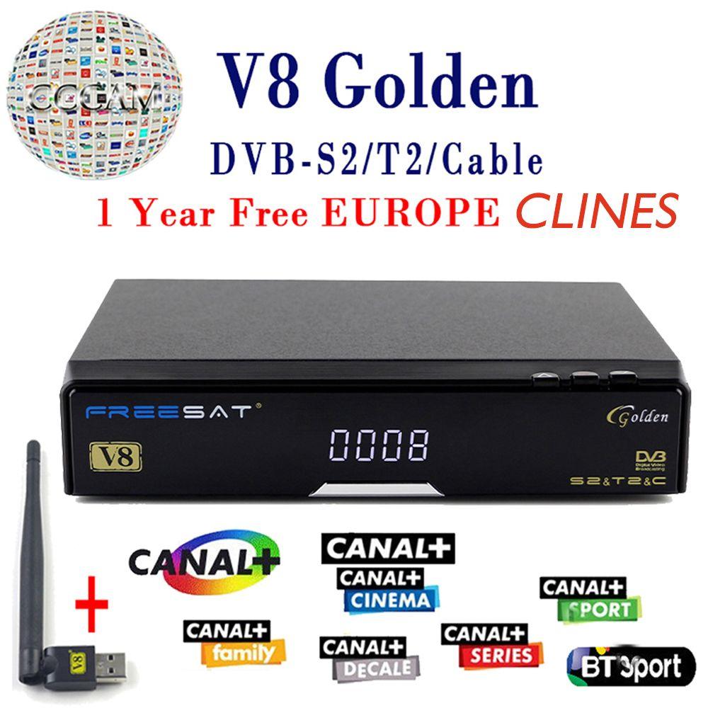 V8 Or Satellite Récepteur DVB-T2 DVB-S2 Plein 1080 P HD Avec 1 Année clines Europe Ccam Serveur + 1 PC USB Wifi Ensemble livraison le bateau
