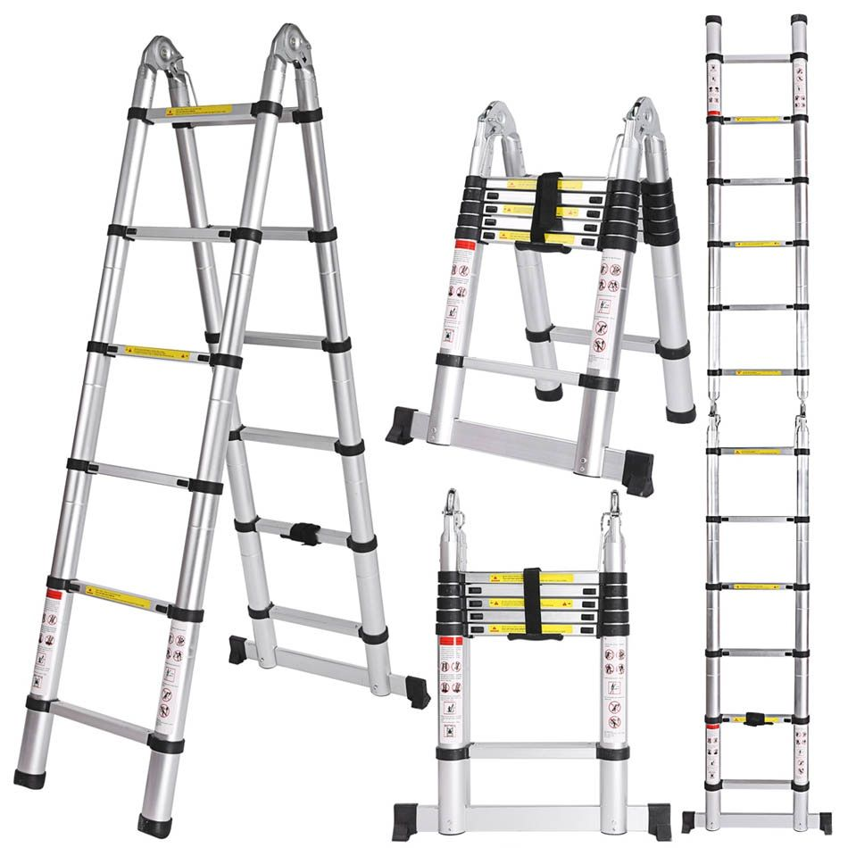 Ancheer 3.8M Multi-Purpose Aluminium Telescopic Ladder Extension Extendable Folding Ladder Extension Home Outdoor Ladder