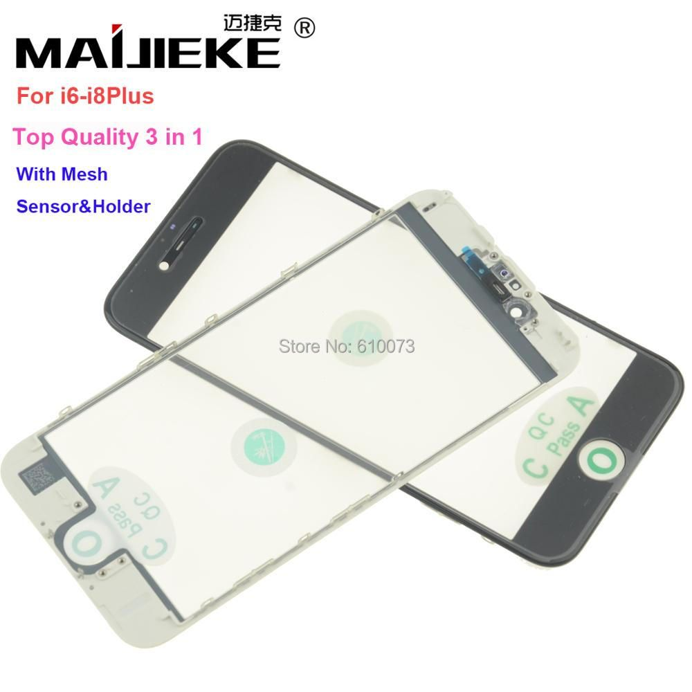 MAIJIEKE Top AAA+ cold press 3 in 1 Front Screen Glass With Frame OCA For iphone 8 7 plus 6 6s plus 5 5s 5c repair Replacement