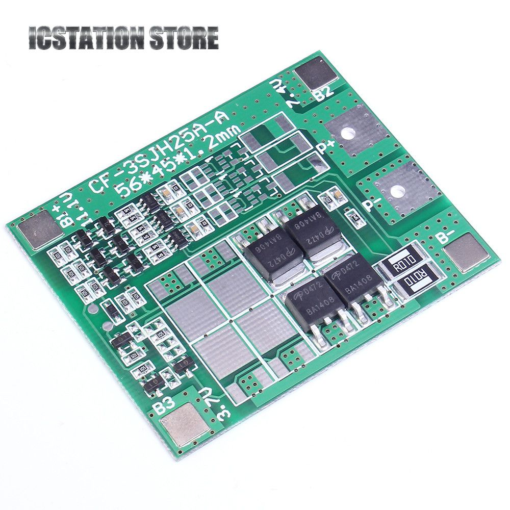 12A 3S 18650 Li-ion lithium Battery Cell Charger Protection Board PCB Lithium Polymer Battery Charging Module