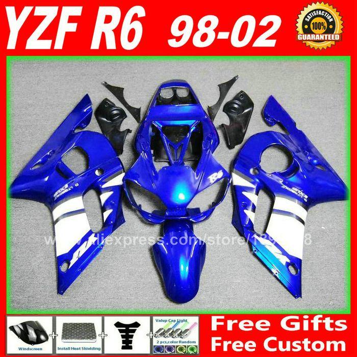 Blau weiß Verkleidungen für YAMAHA R6 1998 1999 2000 2001 2002 YZFR6 körperteile kit yzf-r6 98 99 00 01 02 verkleidung kits W4D7