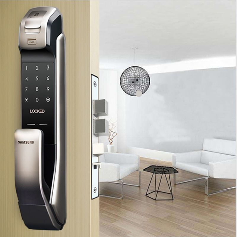 SAMSUNG SHP-DP728 Keyless BlueTooth Fingerprint PUSH PULL Two Way Digital Door Lock English Version Big Mortise Silver Color