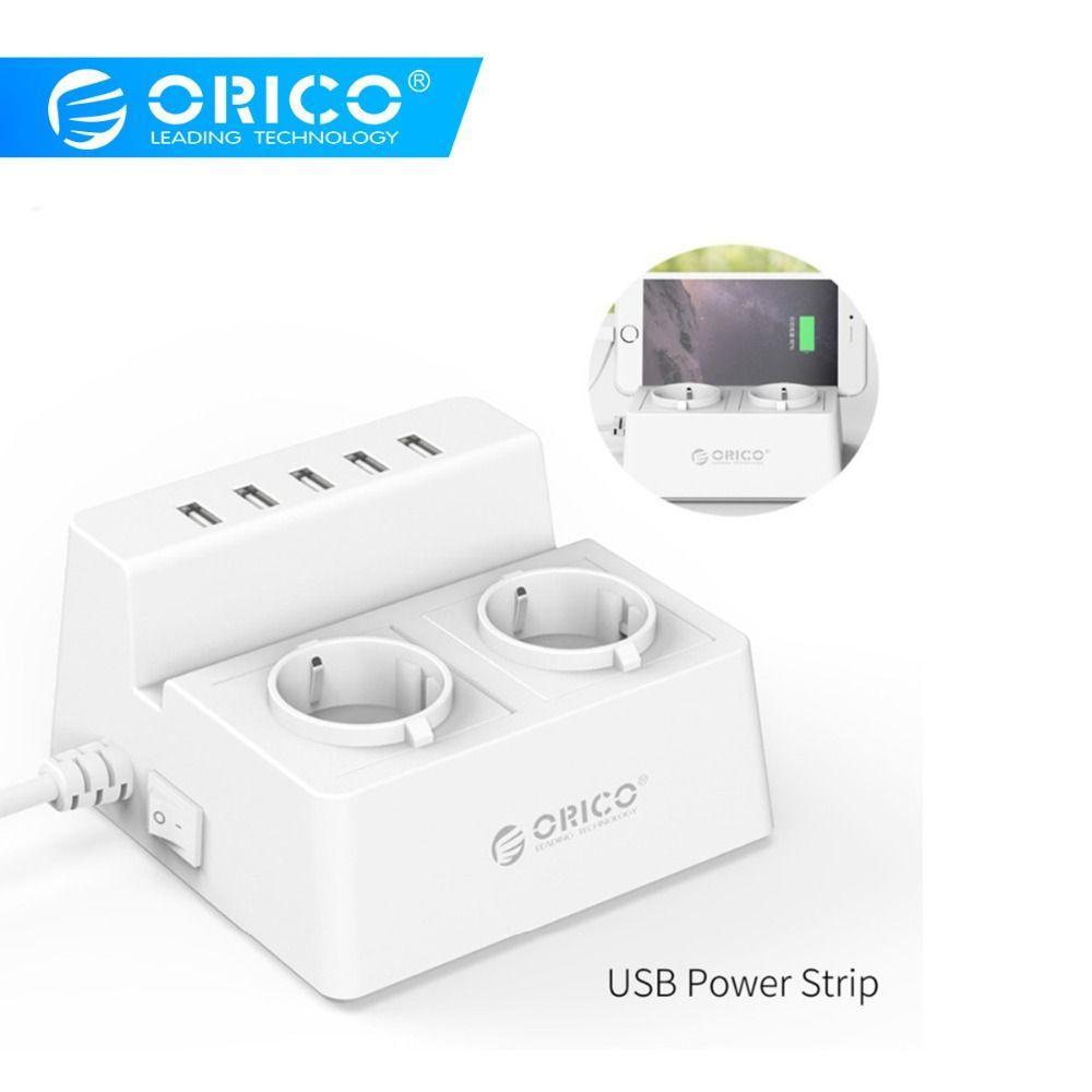 ORICO ODC-2A5U-V1 Intelligent De Charge chargeur de bureau avec 2 Prises CA et 5 ports usb pour Téléphones, iPhone 7, tablettes et Ordinateurs de Bureau
