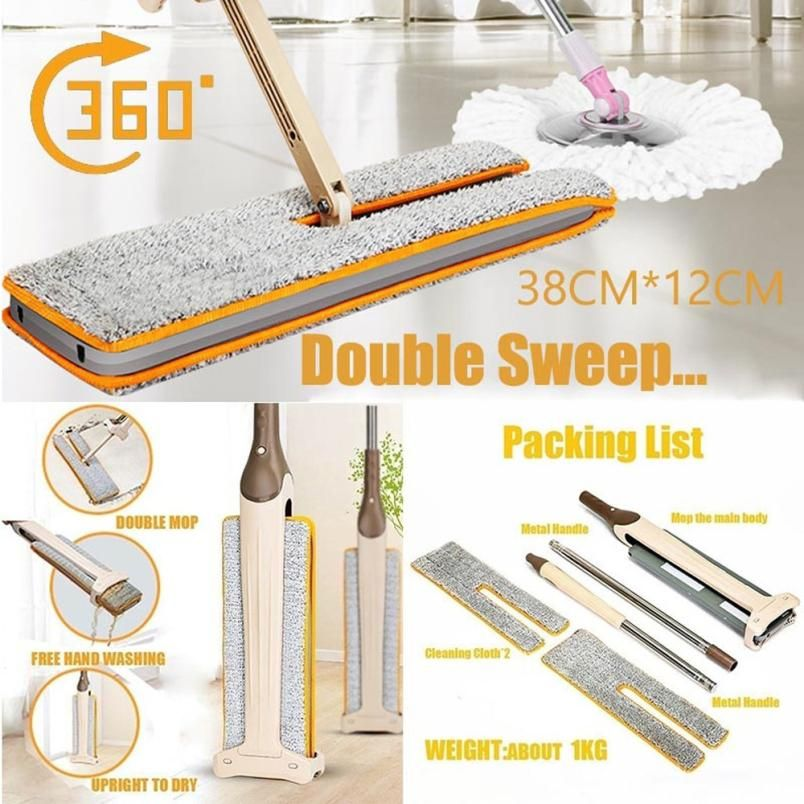 Double Sided Non Hand Washing Flat Dust Mop 360 Rectangle Head Floor Mop Dust Push Mop Home Cleaning Tools drop shipping