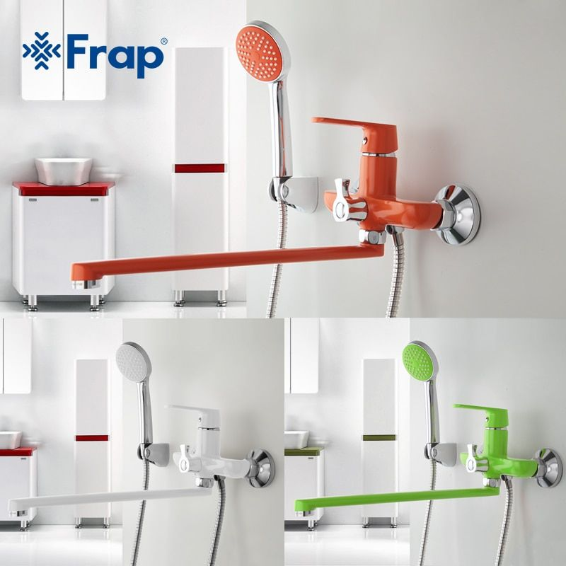 Frap 1 set 350mm Outlet pipe Bath <font><b>shower</b></font> faucet Brass body surface Spray painting Green <font><b>shower</b></font> head F2231 F2232 F2233