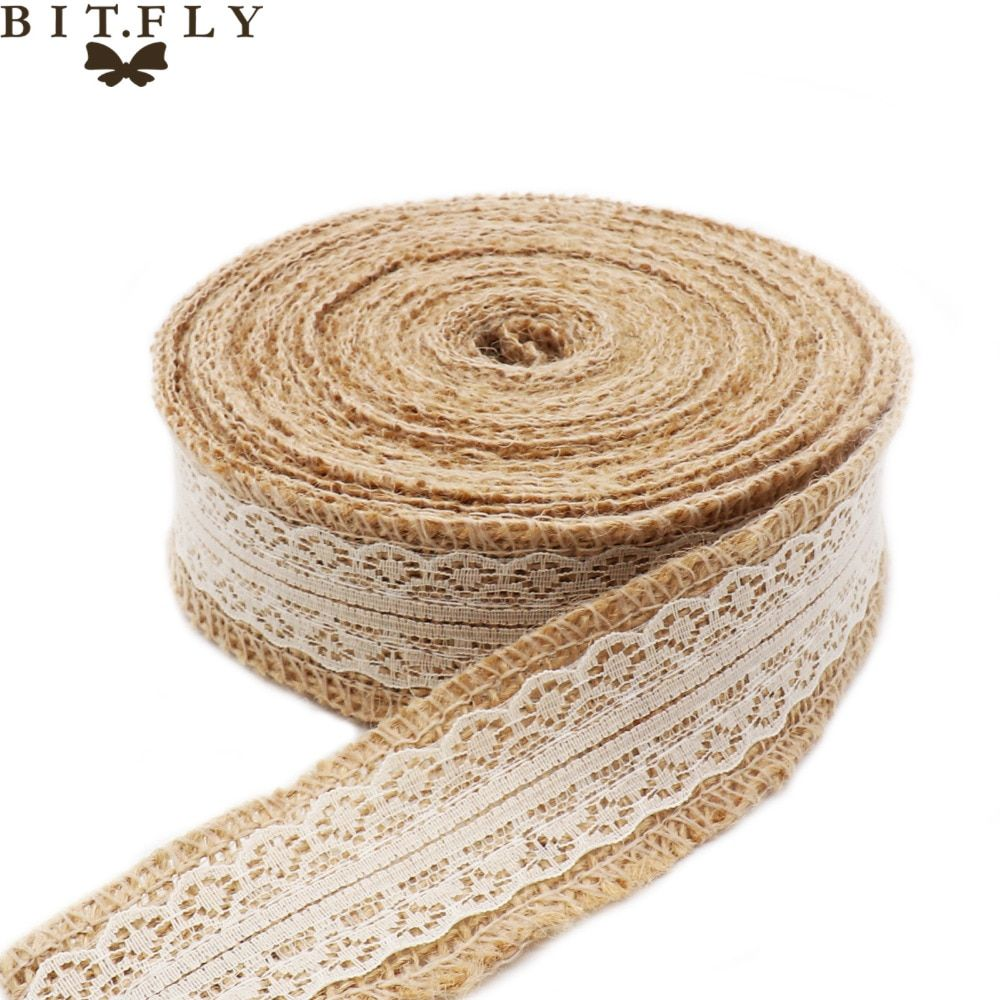 Christmas Deco 10M Natural Jute Burlap Hessian Ribbon with Lace Trims Tape Rustic Party Decor wedding cake topper by free shippi