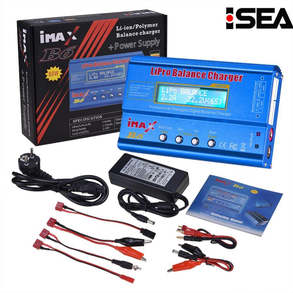 Hot Selling HTRC iMAX B6 80W 6A Battery Charger Lipo <font><b>NiMh</b></font> Li-ion Ni-Cd Digital RC Balance Charger Discharger + 15V 6A Adapter