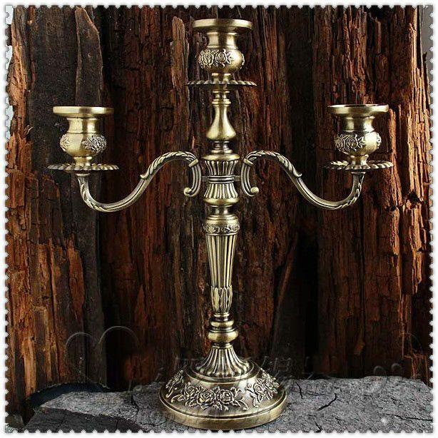 H35cm bronze blumen geschnitzt 3/5 arm metall leuchter kerzenhalter vintage vogel käfig leuchter für home decorationZT2012