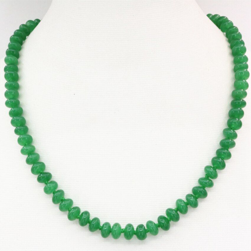 Natural stone 5*8mm abacus green Malaysia jades chalcedony beads choker chain necklace statement clavicle jewelry 18inch B3209
