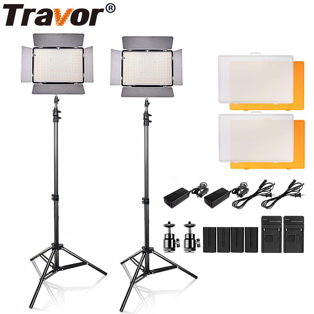 Travor 2 in1 TL-600S LED Video Light kit 3200K 5500K studio light /camera camcorder light with 4pcs NP-F550 battery and bag