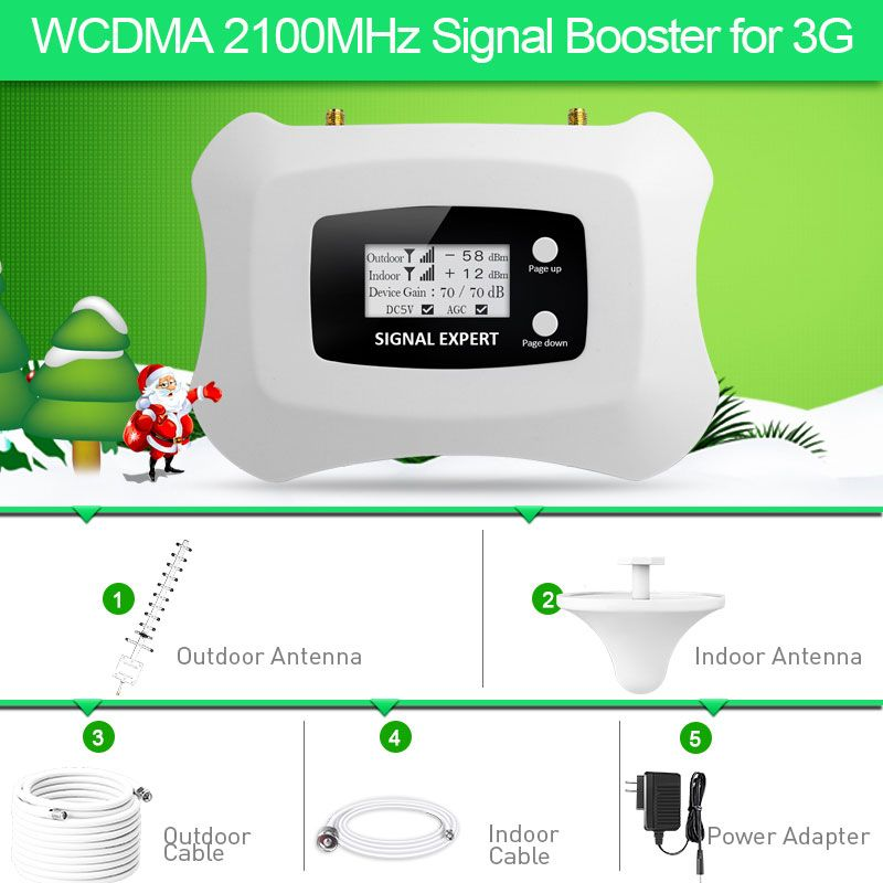 Hot!!3G Signal repeater 3G 2100MHz Mobile Signal Booster 3G Cell phone Amplifier kit with Yagi+Ceiling antenna Kit for home use