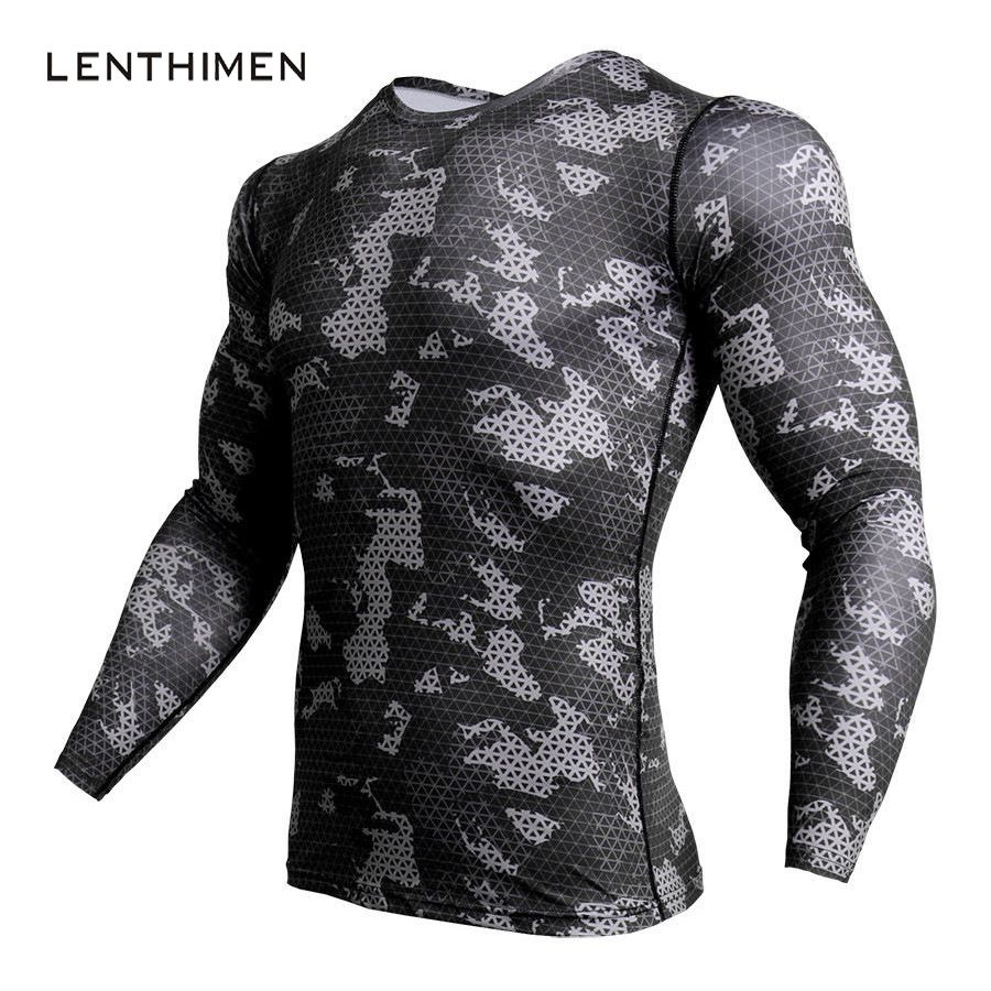 New Compression Shirt Fashion Camouflage Long Sleeve T Shirt Men Crossfit Fitness 3D T Shirts MMA Rashguard Gyms T-Shirt