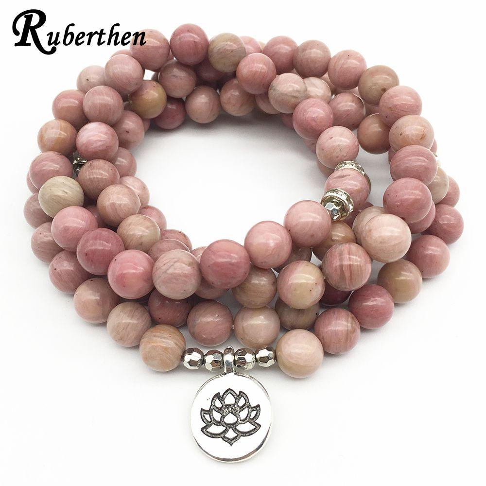 Ruberthen On Sale New Women`s Yoga Bracelet 108 Mala Rhodonite Balance Bracelet Simple <font><b>Design</b></font> Healing Spiritual Gift