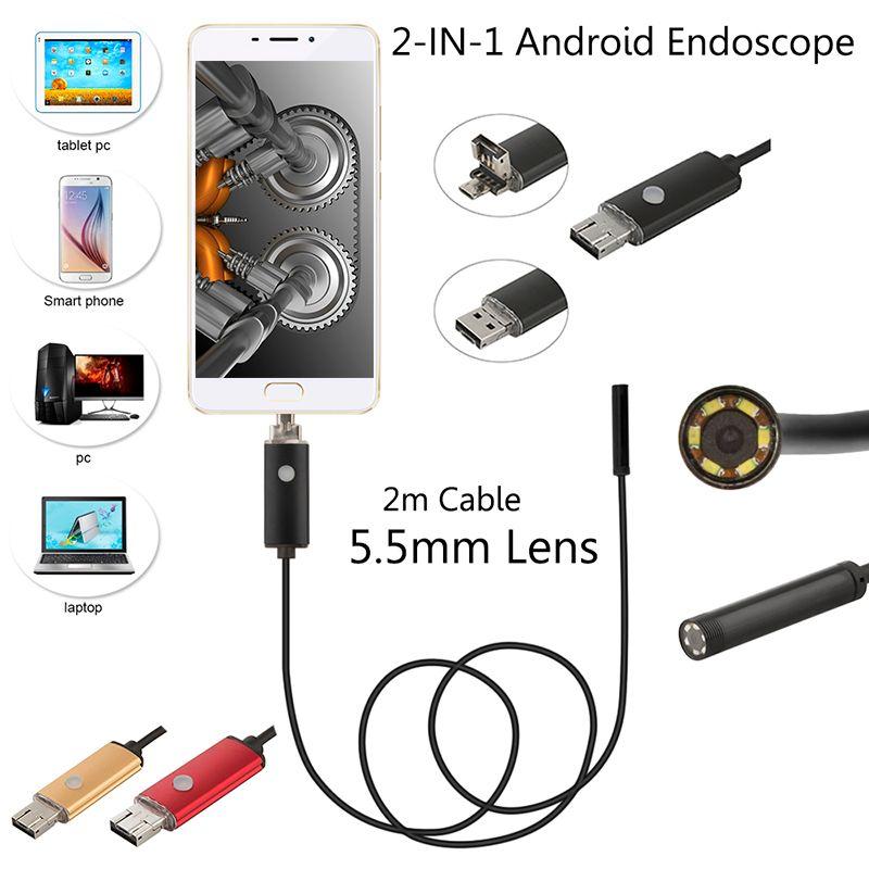 2 M Câble 5.5mm 6leds IP67 Usb Étanche Endoscope Android OTG Serpent Tube 5 cm 480 P Mini Surveillance Caméra D'inspection