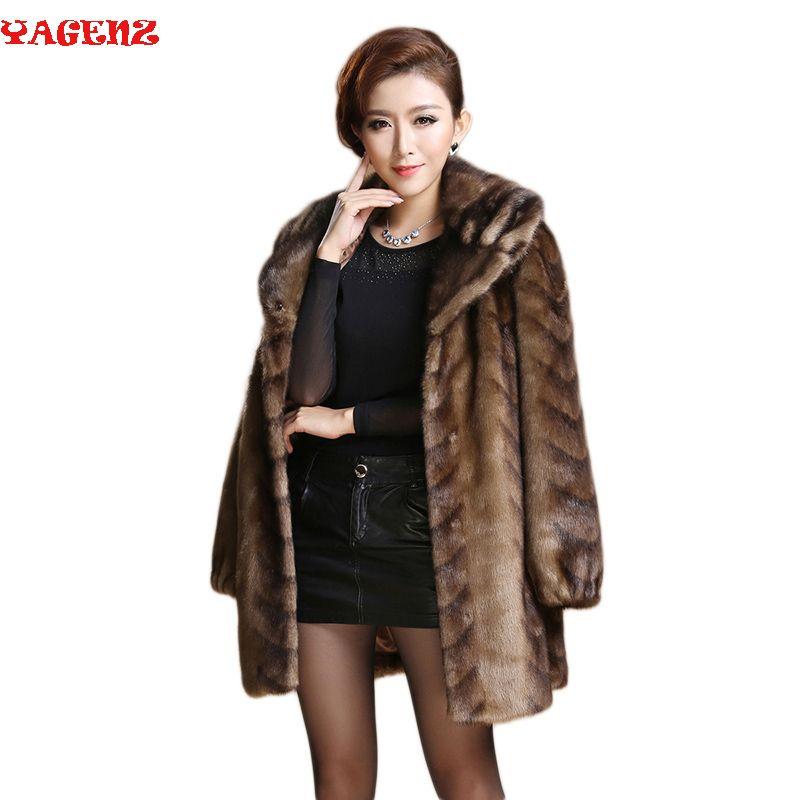 Women Winter Covered Thick Warm High Imitation Mink Fur Coat good quality fur coat women Mother Coat Plus Size Female Outerwear