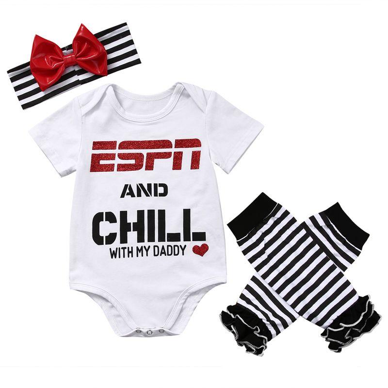 Nouveau-né bébé hauts pour filles barboteuse + jambières bandeau tenue vêtements ensemble