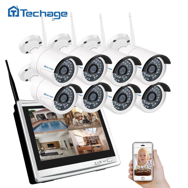 Techage 8CH 960 P Wireless NVR Wifi CCTV-System 12 Lcd-bildschirm Monitor 1.3MP Outdoor IP66 Ip-kamera Sicherheits-überwachungssystem