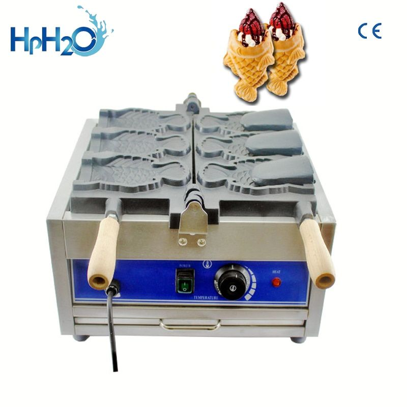 Kommerzielle elektrische 3 stücke mund eis taiyaki maschine, eis kegel taiyaki maschine, taiyaki fisch waffel maker maschine