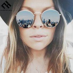 Evrfelan Mode Coloré lunettes de Soleil Rondes Femmes De Luxe En Métal lunettes de Soleil D'été En Plein Air UV400 Lunettes Femme zonnebril dames