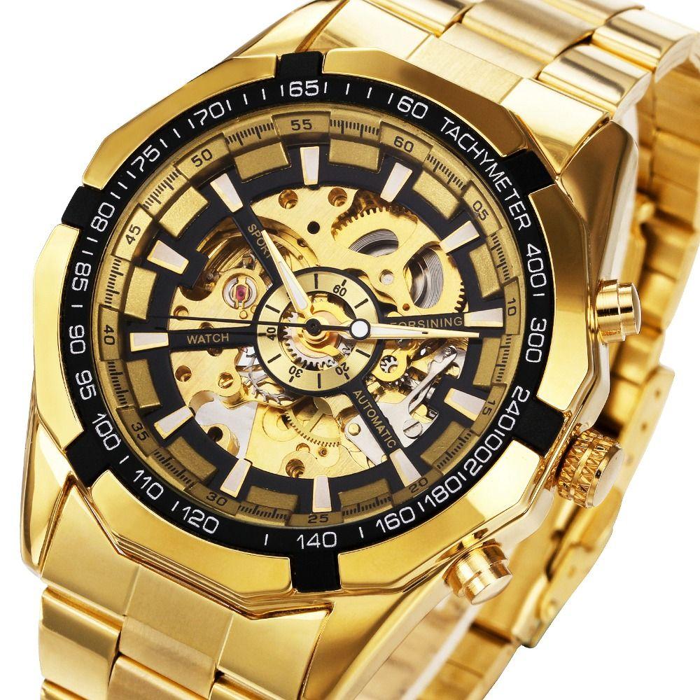 Winner Watch Men Skeleton Automatic Mechanical Watch <font><b>Gold</b></font> Skeleton Vintage Man Watch Mens FORSINING Watch Top Brand Luxury