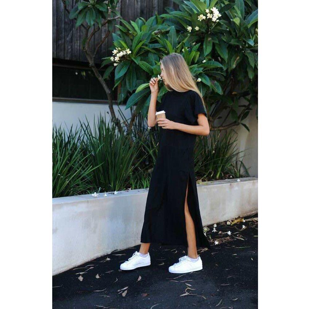 Maxi T Shirt robe femmes été plage décontracté Sexy Boho tricoté Vintage Bandage moulante Wrap noir Long coton robes de grande taille