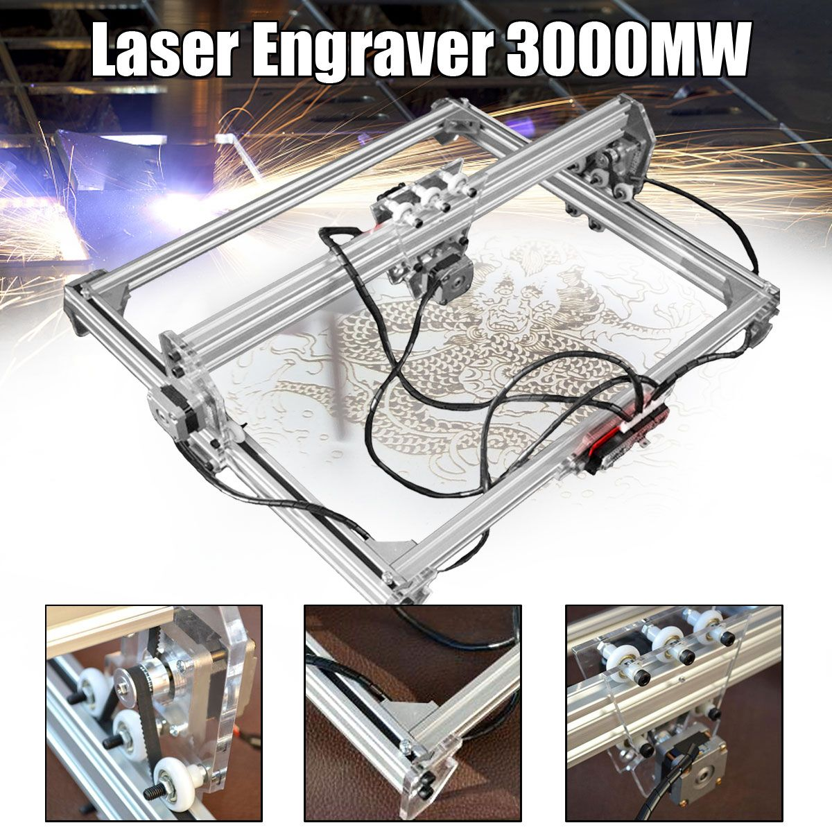 50*65cm 3000MW Mini Blue Laser Engraving Engraver Machine DC 12V DIY Desktop CNC Wood Cutter/Printer/Power Adjust+ Laser Goggles