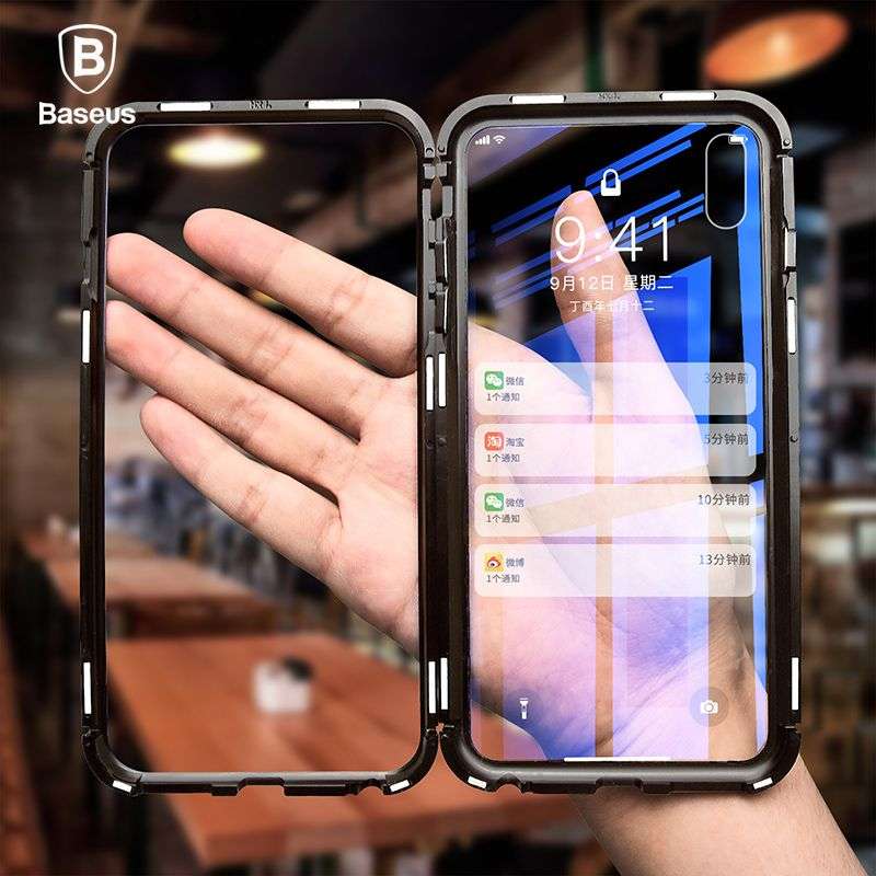 Baseus Magneto Magnetic Adsorption Case For iPhone X Metal Bumper + 9H Tempered Glass Case For iPhone X Phone Cases