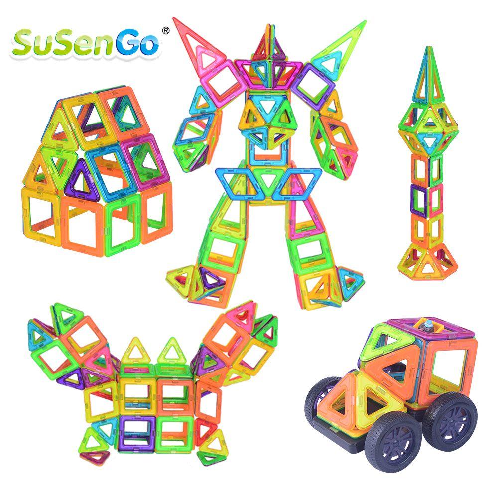 SuSenGo grande taille 68/89/102 pièces blocs de construction magnétiques bricolage Kits de concepteur avec grande roue modèle de voiture pour enfants cadeau de jouets d'anniversaire