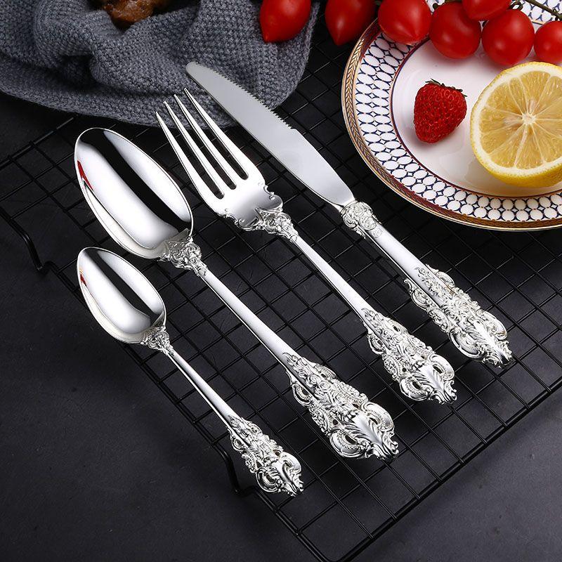 24 Pieces Luxury Silver Cutlery Set Dinner Set Tableware Silverware Dinner Fork Knife Drop Shipping