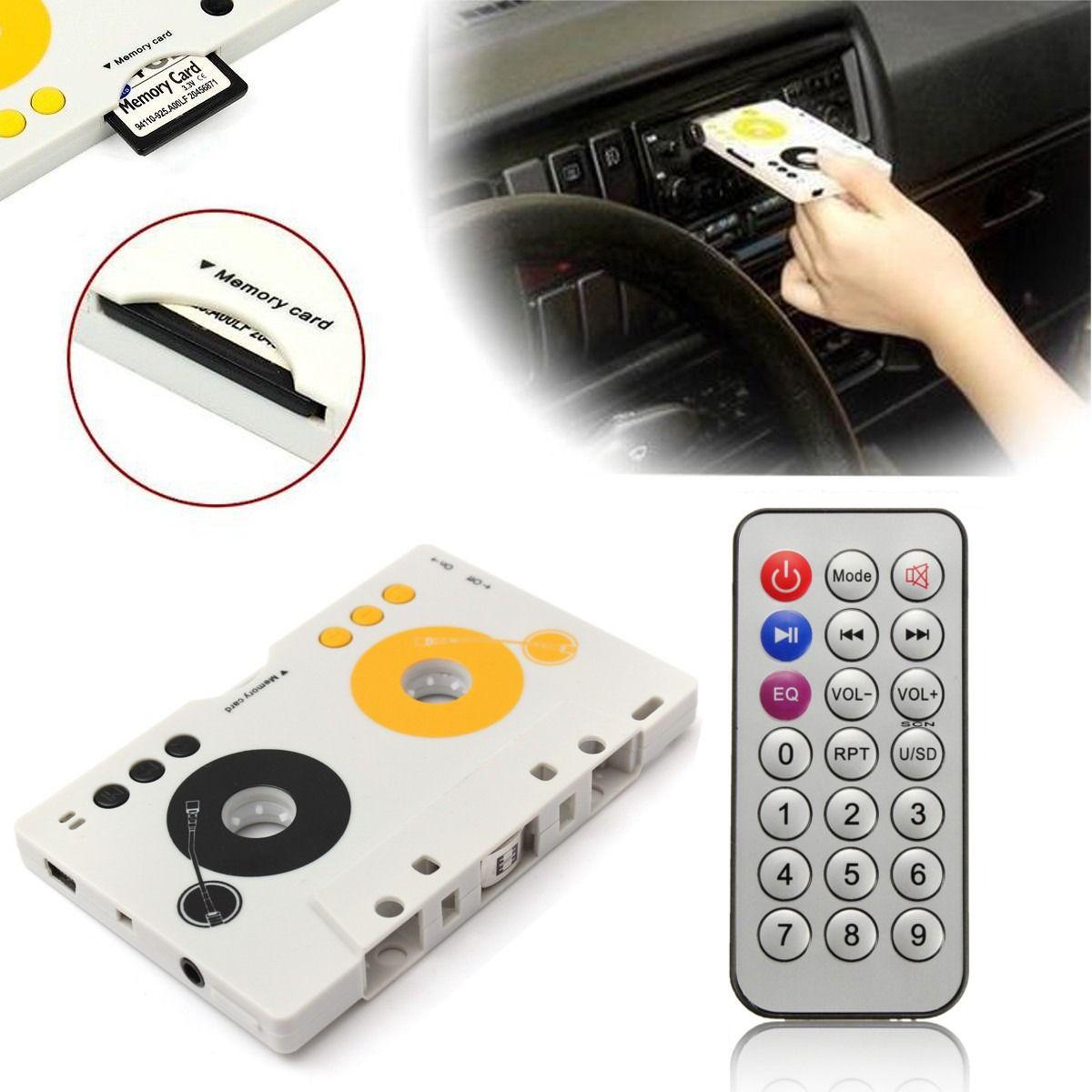 Портативный Винтаж кассеты автомобиля SD MMC MP3 Клейкие ленты адаптер игрока комплект с Дистанционное управление инструкция стерео аудио кас...