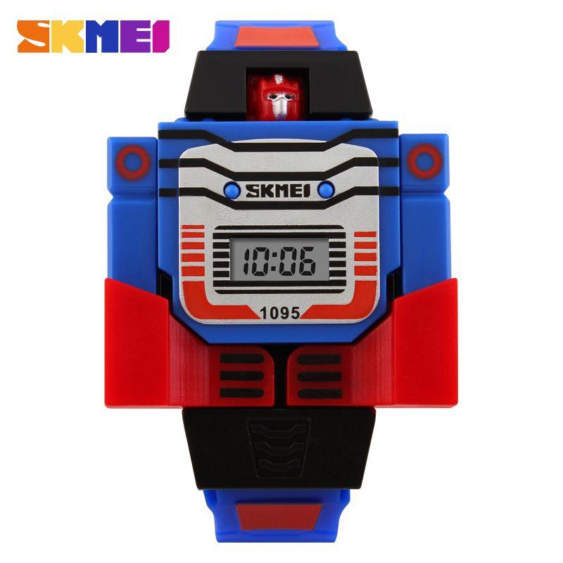 2017 Mode LED Chiffres Enfants Montre de Sport de Bande Dessinée Enfants Montres Mignon Relogio Relojes Robot Transformation Jouets Garçons Montre-Bracelet