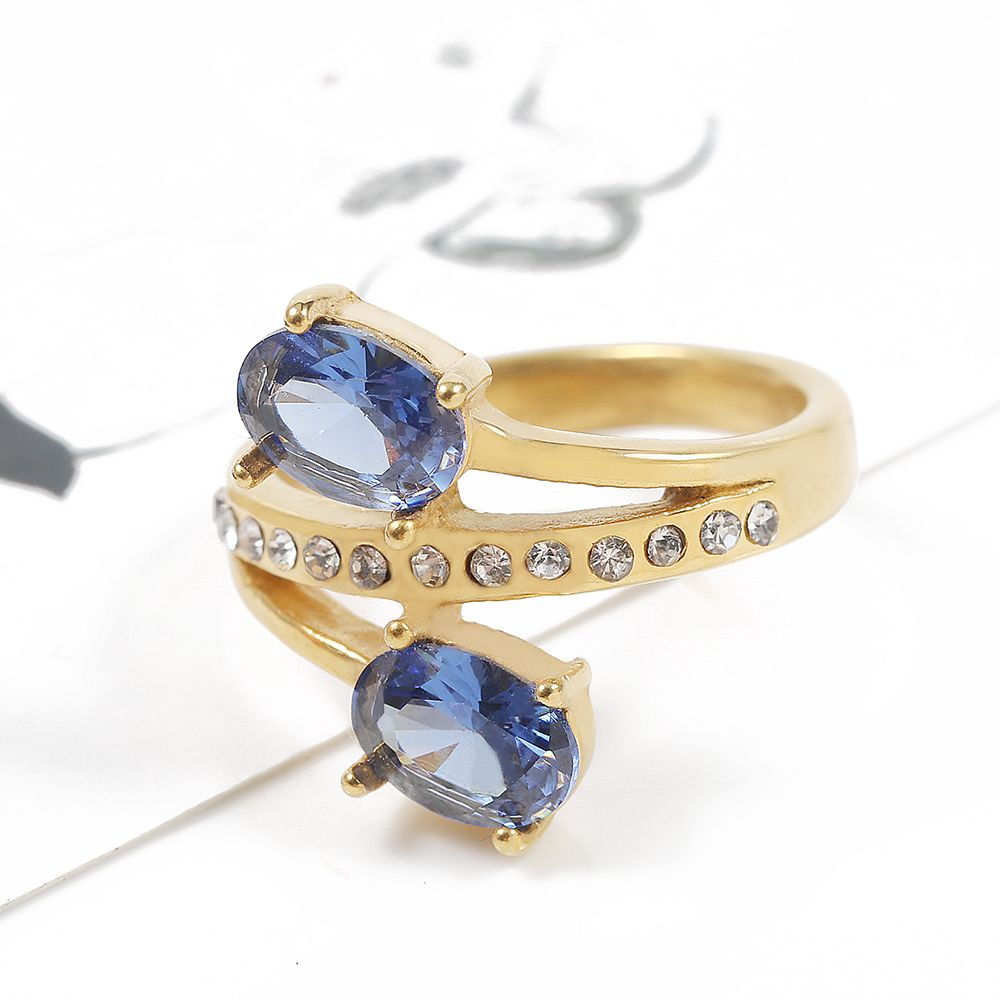 TL Bleu et Rouge Grand Zircon Double Anneau Or Couleur Acier Inoxydable Anneaux De Mariage pour les Femmes Rempli Autrichien Cristaux Moyen anneau