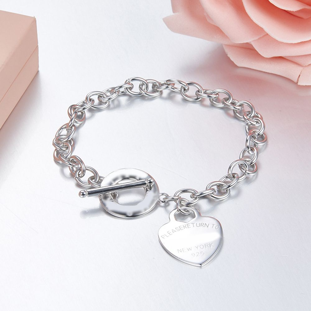 High quality Classic Sterling Silver Bracelets 925 Silver Heart Tag Bracelet Buckle Tiff New Bracelet for Woman Jewerly W/Logo