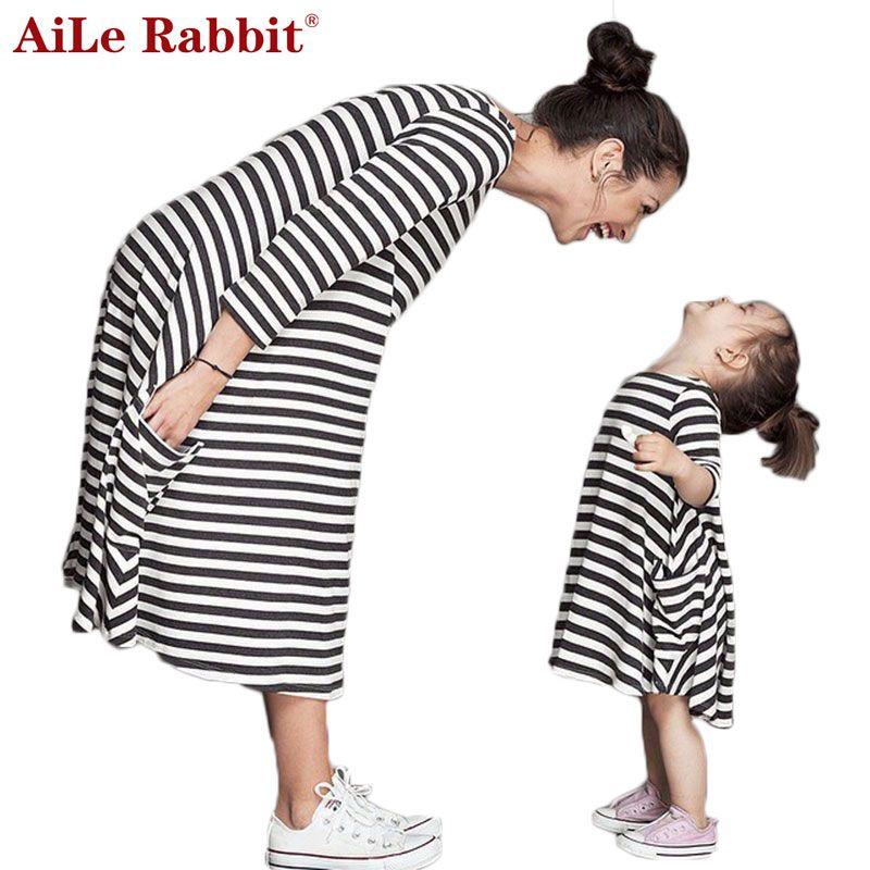 Aile Rabbit/Платья для девочек 2016New весна и осень Ассиметричное платье принцессы в полоску в повседневном стиле Праздничная детская одежда