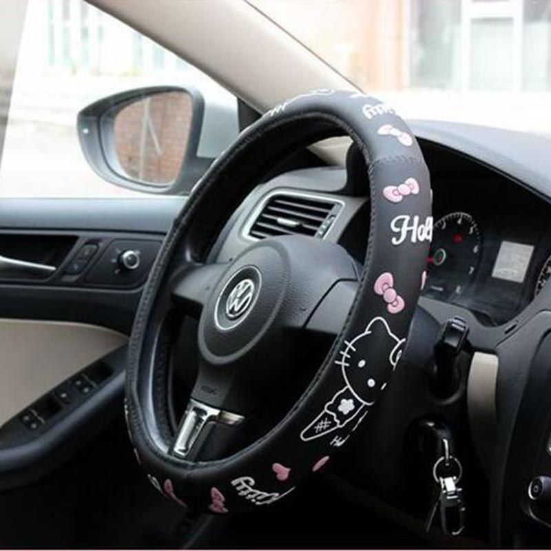 Hello Kitty Car Accessories Cartoon Steering-Wheel Cover For Auto Interior Decoration Latex cute steering wheel covers pink