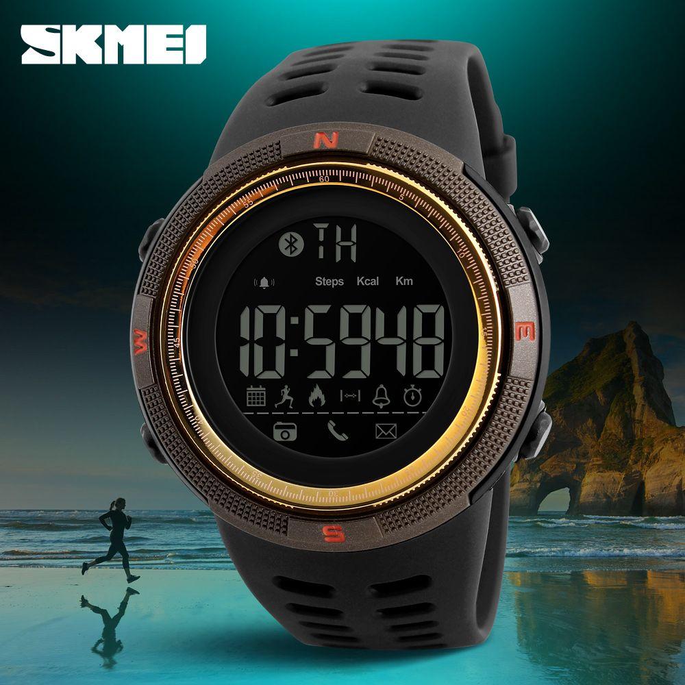 Smartwatch новые skmei марка bluetooth калорий шагомер мода часы мужчины 50 м водонепроницаемый цифровой мужская женщины смарт-спортивные часы