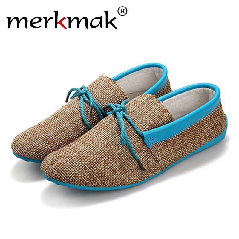 Merkmak Trendy Casual Men Beach Loafer Shoes Breathable Summer Weaving Hemp Man Flats Soft Driving Shoes Mocassins Drop Shipping