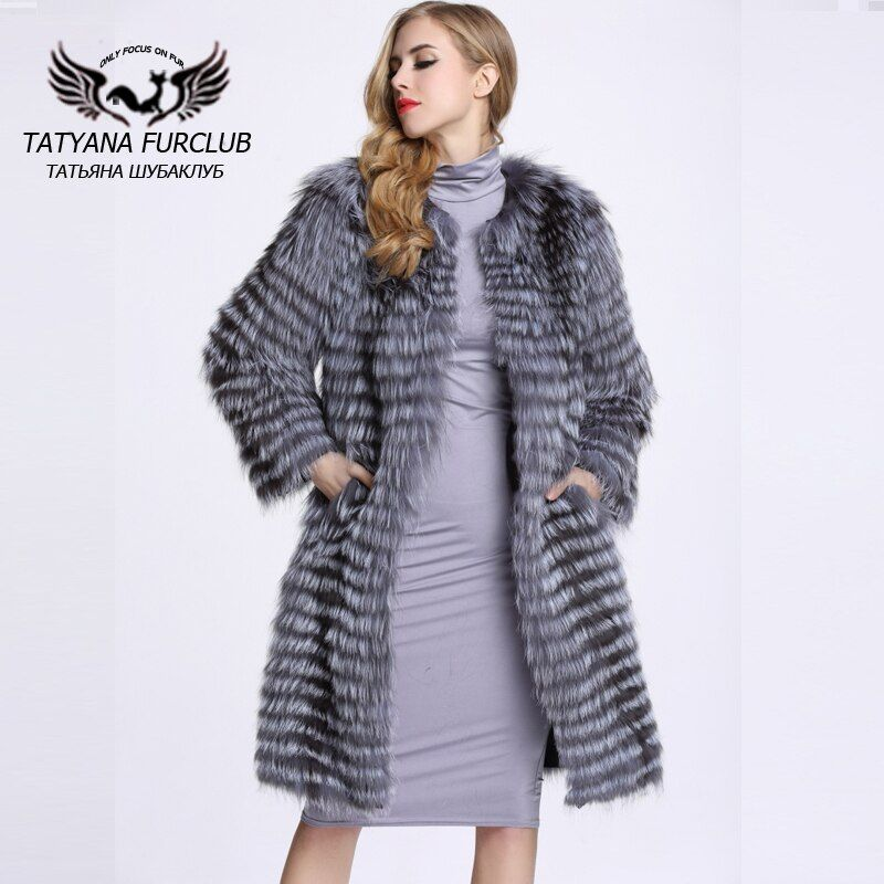 100% Real Value Silver Fox Fur Coat,Luxurious Sliver Fur Coats Natural Fur,Sheepskin Coats Female Jacket,Winter Women's Fur Coat