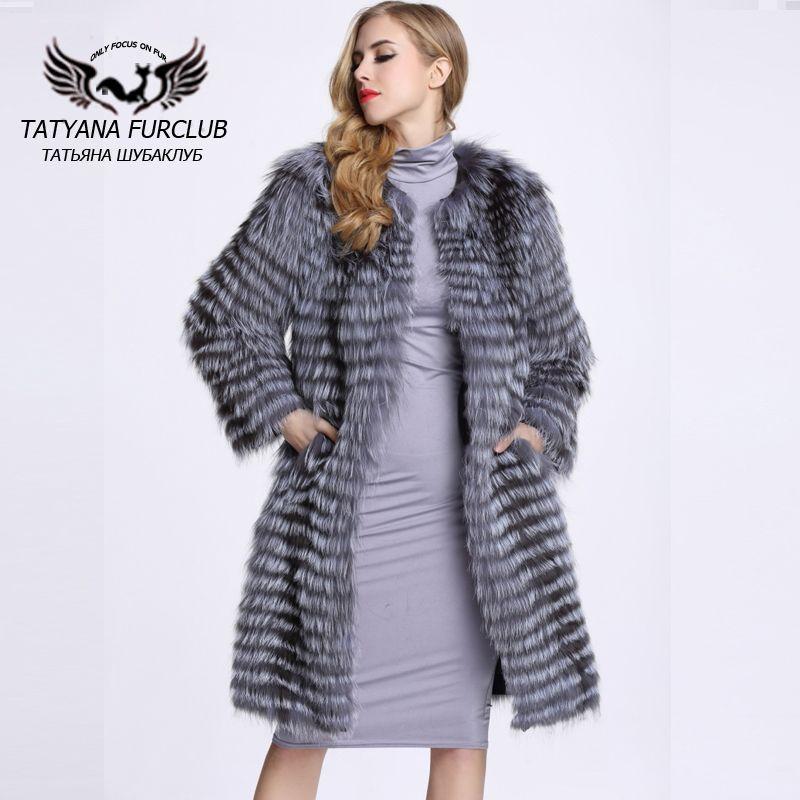 100% realen Wert Silber Fuchspelz Mantel, Luxuriöse Splitter Pelzmäntel Pelz, Lammfell Mäntel Weibliche Jacke, Winter frauen Pelzmantel