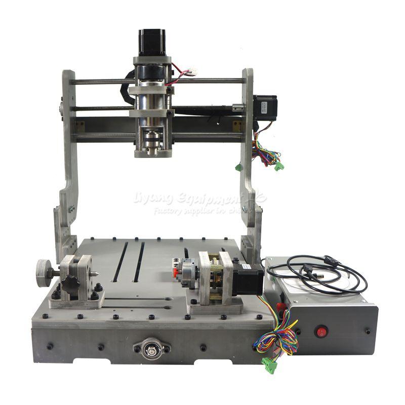DIY CNC milling machine 3040 4 axis mini cnc router DC spindle 300W