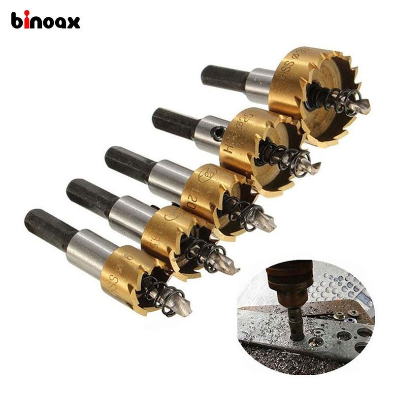 Binoax 5 Pcs Carbide Tip HSS Drill Bit Saw Set Metal Wood Drilling Hole Cut <font><b>Tool</b></font> for Installing Locks 16/18.5/20/25/30mm