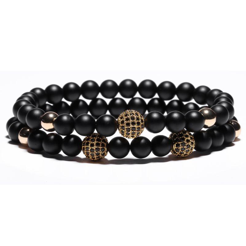2Pcs Mcllroy New Fashion Natural Black Mantra Prayer Beads Buddha Bracelet for Women and Mens Pulseras Masculina