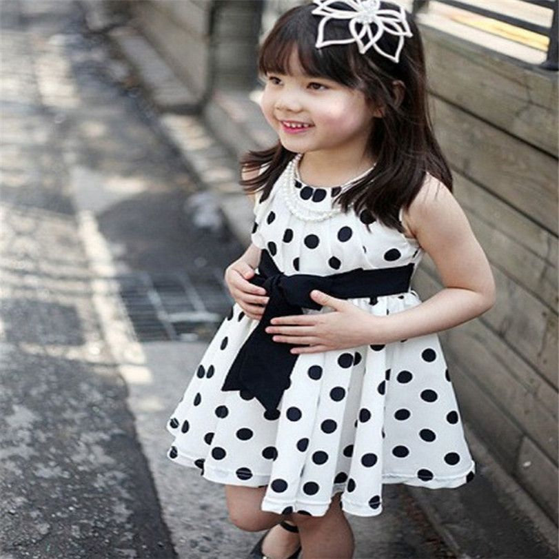 Kids Girls Polka Dot Chiffion Sundress Toddler Tunic Bowknot Belt Dress LR3
